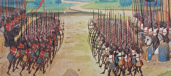 Illustration from the battle of Agincourt depicting two sets of archers and pikemen across from each other