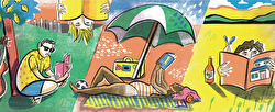 A cartoon illustration of a woman reclining on a beach under a parasol reading a book