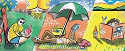 A cartoon illustration of a woman reclining on a beach under a parasol reading a book