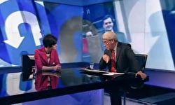Photo of Chloe Smith being interviewed by Jeremy Paxman