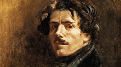A headshot from a painted portrait of Eugene Delacroix