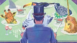 Man in top hat with a toucan