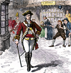 Illustration of a British soldier being taunted by American boys around the time of the Boston Massacre