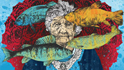 A painting of fish, an old lady, and a large bouquet of red roses