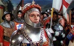 Still from the movie 'Henry V' depicting Laurence Olivier as Henry V in armour