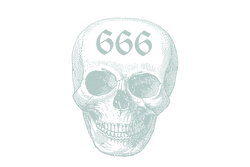 Illustration of a human skull with the numbers '666' imprinted in gothic script on the forehead