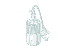 An illustration of an old perfume bottle