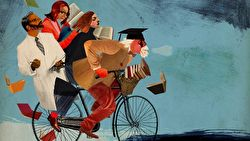 An illustration of a student on a bike