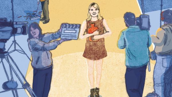 Illustration of Renee Zellweger as Bridget Jones on set