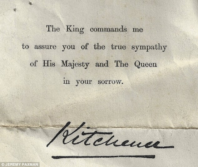 Photo of a letter from Lord Kitchener