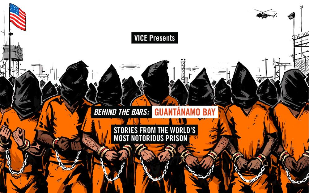 Cover picture from Vice's article on Guantanamo Bay depicting captive's in orange jumpsuits with black sacks on their heads
