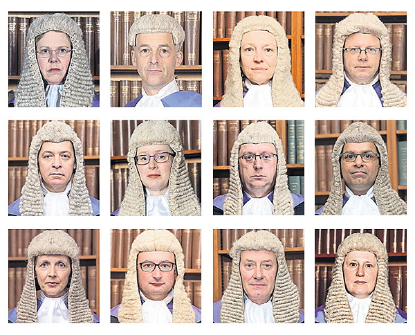 12 headshots of high court judges in their wigs.