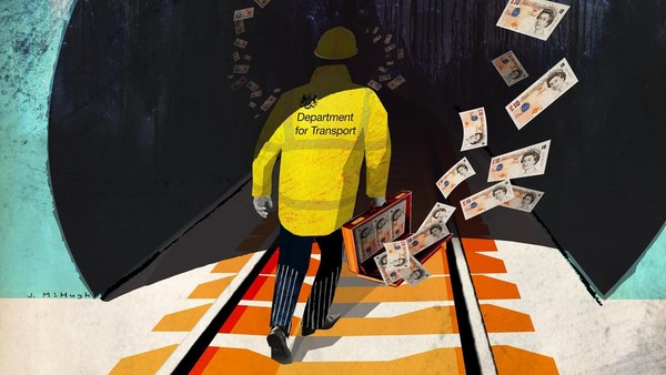 An illustration of a rail worker walking down the tracks as moneys flies from his briefcase