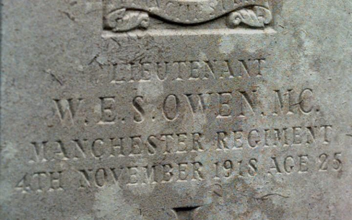 Photo of the inscription on Wilfred Owen's gravestone