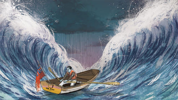 Illustration of a man in a rowboat in high waves as rain pours from a dark cloud ahead