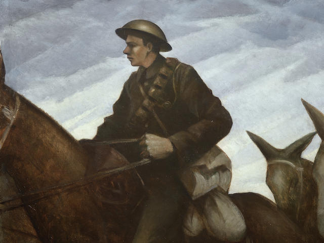 Painting entitled 'Mule Team' by Christopher Richard Wynne Nevinson depicting a soldier on horseback