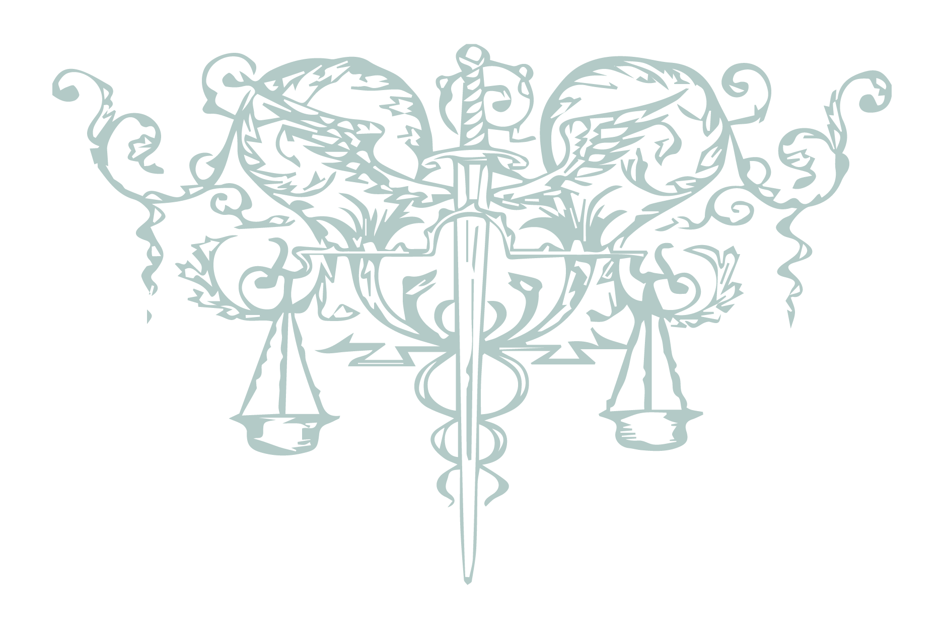 An illustration of a pair of scales with the twin snakes of Caduceus entwining a dagger between them