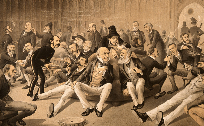 Old cartoon illustration of parliament