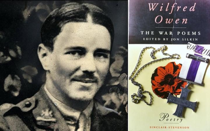 Photo of Wilfred Owen alongside a book of his works
